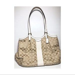 Coach Beige White Leather Trim Tote Bag Purse Bag